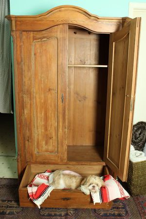 Cute antique solid wood magical wardrobe dresser cabinet linen closet for Sale in Austin, TX