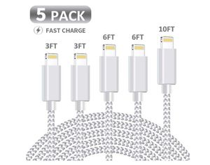 MFi Certified iPhone Charger, KRISLOG [3/3/6/6/10ft, 5Pack] Lightning Cable- Lightning iPhone Charger Cable Lead Nylon USB Fast Charging Compatible for Sale in Rancho Cucamonga, CA