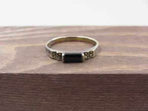 Size 7.75 Sterling Silver Rustic Marcasite & Black Inlay Band Ring Vintage Statement Engagement Wedding Promise Anniversary Friendship for Sale in Everett, WA