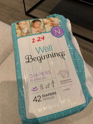 Well Beginnings Diapers Newborn up time 10 lbs for Sale in Coral Gables, FL