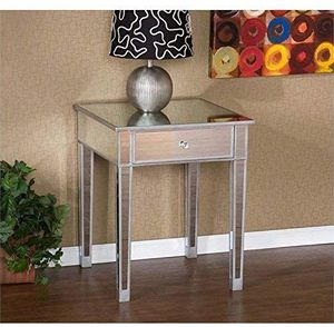 Pemberly Row Painted Silver Wood Trim Mirrored Accent Table / Nightstand for Sale in Bothell, WA