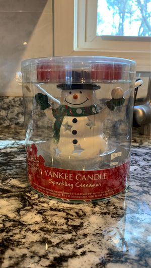 New snowman yankee candle holder with cinnamon candles for Sale in Billerica, MA
