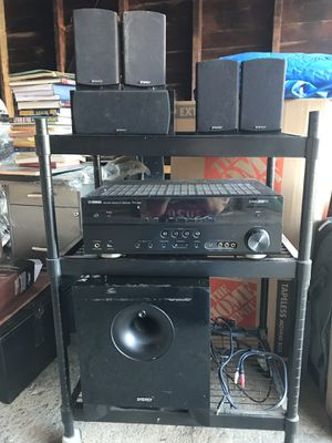 Energy surround sound system. 5 speakers, sub woofer and Yamaha receiver. for Sale in San Diego, CA