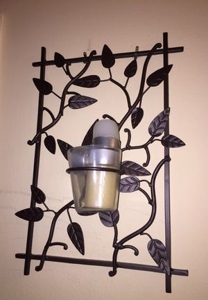 Set of two metal plant pattern wall mounted candle holders for Sale in Fairfax, VA