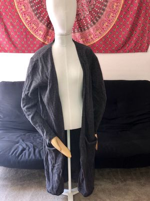 Dark gray long warm cardigan size small for Sale in Tampa, FL