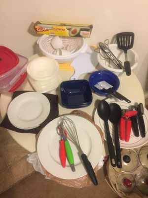 Kitchen utensils white plates Tupperware pasta strainer Can openers potato peelers tongue tongue's metal vegetable steamer. Pots and pans extra lids for Sale in Boynton Beach, FL