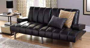 Modern Futon Leather Sofa Sleeper with Cupholders (Purchase via PayPal Invoice with Free Shipping) for Sale in Philadelphia, PA