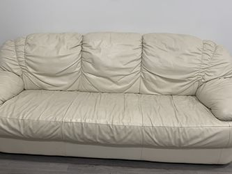 2 piece white leather couch for Sale in Trenton,  NJ
