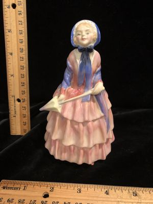 Royal Doulton Biddy lady with bonnet & umbrella purple and pink dress for Sale in Puyallup, WA