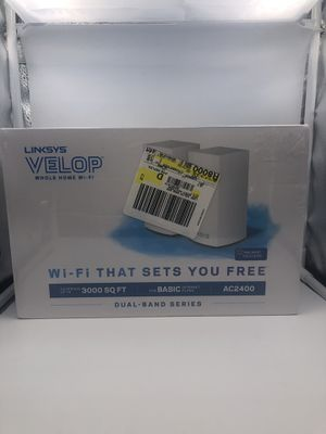 Brand new Linksys Velop Dual Band AC2400 Intelligent Mesh WiFi Router Replacement System | 2 Pack | Coverage up to 3,000 Sq Ft | Walmart Exclusive for Sale in Arlington, TX