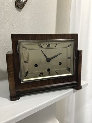 Antique Vintage Art Deco Nouv Mantel Clock Haller Square 1940 for Sale in Castro Valley, CA