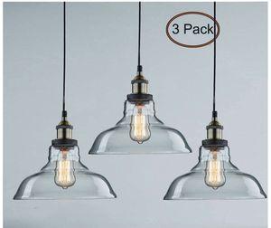 CLAXY Ecopower Industrial Pendant Lighting Glass Kitchen Island Hanging Lights-3 Pack for Sale in Alexandria, VA