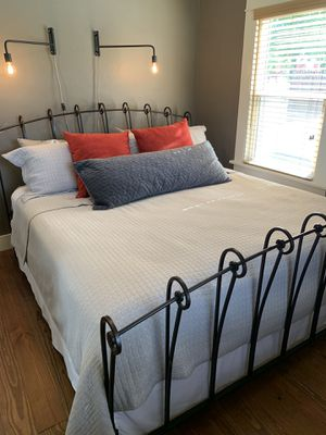 Beautiful king size black iron bed with matching glass top nightstand! for Sale in Canyon, TX