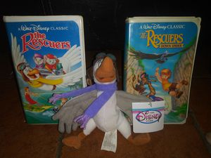 2 black diamond edition collectible vhs tapes the rescuers and the rescuers down under with plush toy for Sale in Hawthorne, CA