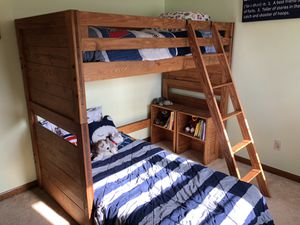 Solid Wood Bunk Bed Loft with 2 wooden bookshelves for Sale in Batavia, IL