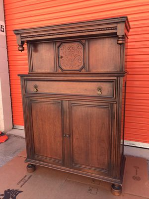 Antique ... Cabinet (armoire) with compartment on top and shelving on bottom for Sale in San Jose, CA