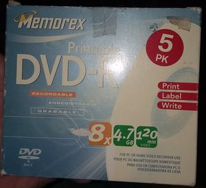 Memorex printable dvd-r 5pck for Sale in St. Louis, MO
