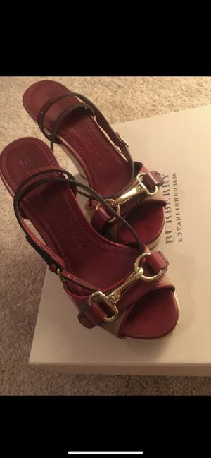 Burberry wedge sandals size 35 or size 6 with a box & receipt 🧾 for Sale in Las Vegas, NV