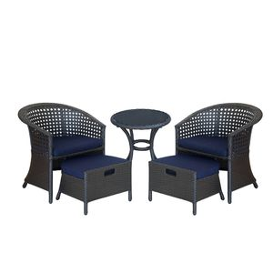 Final sale!!!5 Piece Outdoor Wicker Patio Furniture Conversation Sets with Sunbrella Cushion 2 chairs for Sale in Hacienda Heights, CA