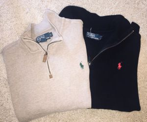 LOT Of 2 POLO RALPH LAUREN Estate Rib Jersey Pullover Sweater L Blue Tan 1/2 Zip for Sale in Spanaway, WA