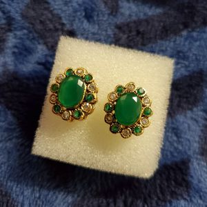 Emerald Gold Plated Earrings for Sale in Woodlawn, MD