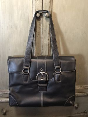 Black leather laptop tote bag briefcase for Sale in Santee, CA