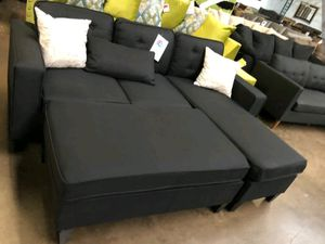 Brand New Black Linen Sectional Sofa Couch + Ottoman for Sale in Silver Spring, MD
