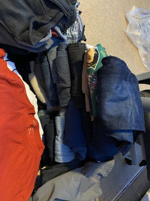 2 full boxes with men's clothes good condition jeans 32x30 33x30 medium shirts hoddies jackets and more serious interested offer for Sale in Norcross, GA
