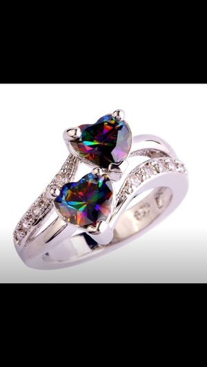Double heart sterling silver ring with mystic topaz for Sale in Saint Cloud, FL