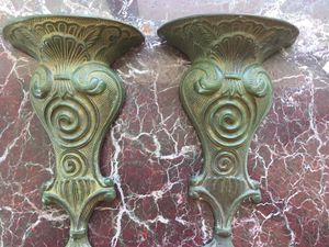 """Pair of wall pockets/vases made of brass with a beautiful green patina. 11""""x7"""" ideal for flower arrangement. for Sale in Coral Gables, FL"""