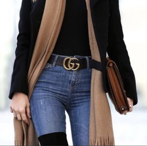 Women's Black Leather Belt with Large GG Gold Buckle for Sale in Lewisville, TX