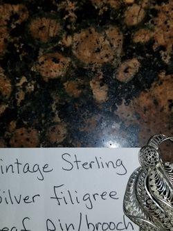 VINTAGE STERLING SILVER FILIGREE LEAF PIN/BROOCH GERMANY for Sale in Houston,  TX