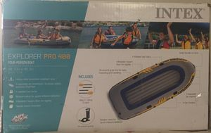 Intex Inflatable Explorer Pro 400 Four-Person Boat with Oars and Pump for Sale in Beltsville, MD