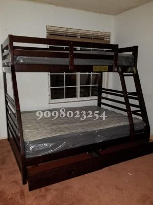 Twin/full expresso bunkbed w. Orthopedic mattresses included for Sale in Bellflower, CA