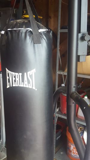 Everlast 80lb punching bag with stand and speed bag mount for Sale in Smyrna, TN