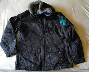 Cute Polka Dot FLY Racing Jacket Girls Women's Motocross Snowmobile Ski Shell Jacket Coat XL Extra Large Faux Fur Hood for Sale, used for sale  Tempe, AZ