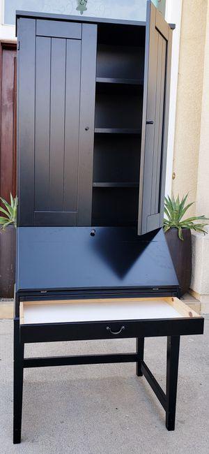 Beautiful IKEA Black 2 Tier Tiered Secretary Workstation + Hutch + Desk + 1 Sliding Drawers + Adjustable Shelves INCLUDED for Sale in Monterey Park, CA
