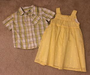 FREE SHIPPING! Like-NEW! Boy/Girl twin matching/coordinating outfit set. Dress shirt & dress. Size 3T $20 for Sale in Leander, TX