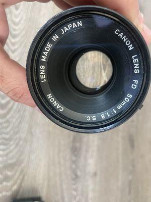 Vintage Canon film camera fd 50mm f/1.8 lens for Sale in Encinitas, CA