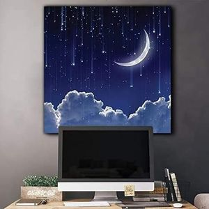 ((FREE SHIPPING)) crescent moon with bright falling stars above the clouds - canvas art home decor Painting like print for Sale in Palo Alto, CA