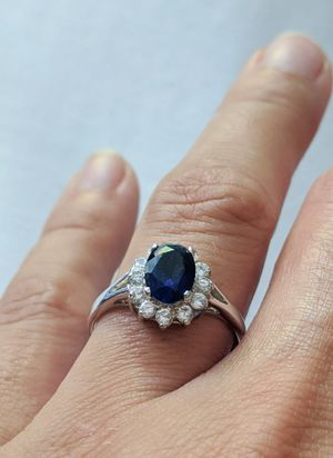 Silver ring with Blue and White Diamonds for Sale in Piedmont, CA