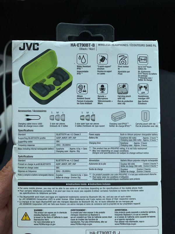 JVC True wireless earbuds for sports and fitness sweat/waterproof IPX5 Bluetooth