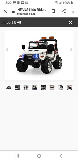 Kids ride on white jeep for Sale in Lawndale, CA
