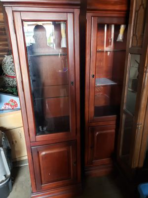 Real oak wood entertainment center and two side cabinets 1yr old great condition for Sale in Inglewood, CA
