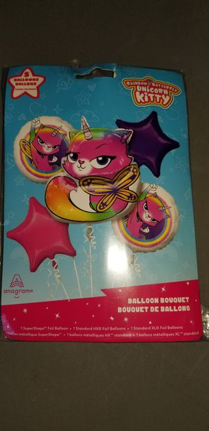 New rainbow butterfly unicorn kitty mylar balloon bouquet for Sale in La Mesa, CA