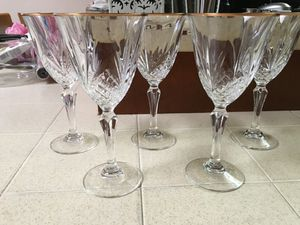5 heavy crystal wine glasses with gold trim $15 for Sale in Fresno, CA