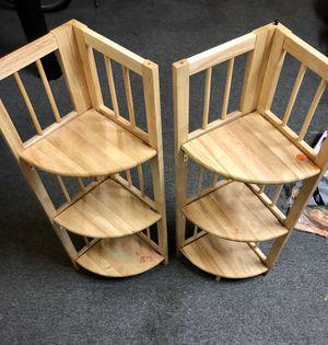 Natural Wood 3 Tier Corner Stackable Shelves for Sale in Medford, NJ