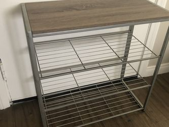 4 tier shoe rack with rustic oak finish top and gray metal for Sale in San Diego,  CA