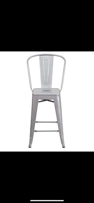 """Belleze Indoor/Outdoor Barstool Stool with High Backrest Bar Counter Height Kitchen Home (8 Pack), 30""""-inch, Grey for Sale in Aubrey, TX"""