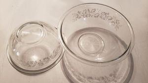 (2) Vintage Pyrex Nesting Bowls Colonial Clear w/ White Flowers for Sale in Pattersonville, NY